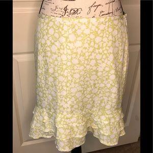 Ann Taylor LOFT Ruffled Skirt S/ 10 P Linen Blend